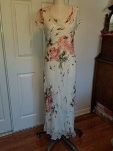Rose print chiffon bias dress beaded sequined